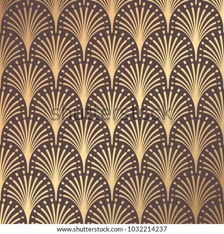 Art Deco Pattern. Seamless golden background. Minimalistic geometric design. Vector line design. 1920-30s motifs. Luxury vintage illustration #1032214237