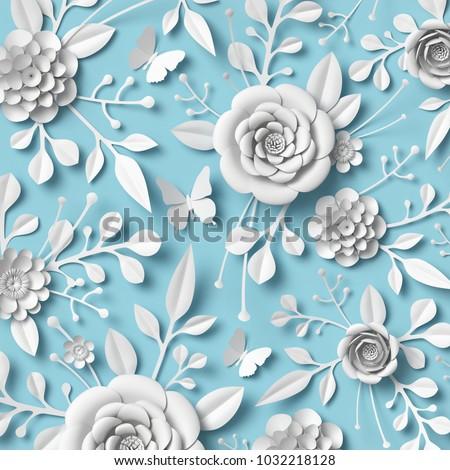 3d rendering, white paper flowers on blue background, botanical ornament, bridal design, wedding wall decoration, floral pattern