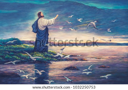 oil painting of Jesus standing at the sea side and raise hand up to feed birds in the air show christian trust concept