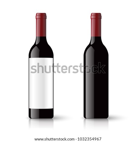 Red wine bottles and empty label isolated on white background, vector illustration #1032354967