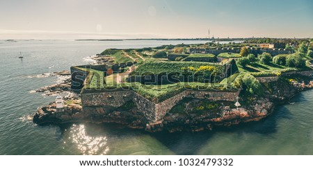 Bastions of finnish fortress Suomenlinna (or sweeden name Sveaborg) at the coast of Baltic sea in Helsinki, Finland #1032479332