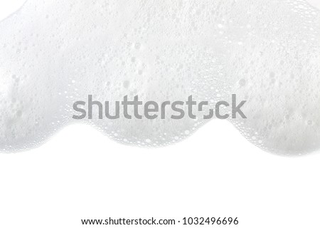 Foam bubbles abstract white background. Detergent Royalty-Free Stock Photo #1032496696