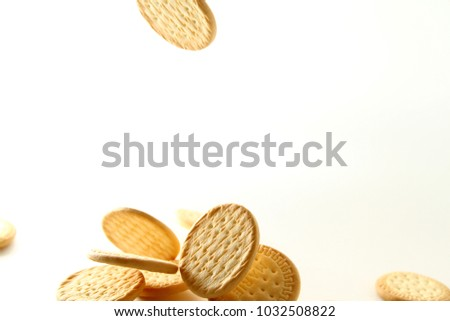 Marie biscuit in white background / A Marie biscuit is a type of biscuit similar to a rich tea biscuit. #1032508822