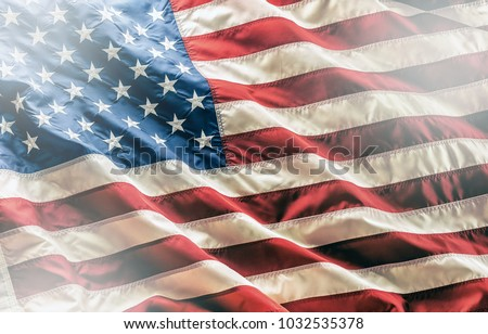 Close-up american flag,studio shot. Royalty-Free Stock Photo #1032535378
