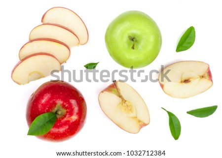 red and green apples with slices and leaves isolated on white background top view. Set or collection. Flat lay pattern #1032712384