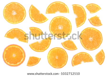 Slices of orange or tangerine isolated on white background. Flat lay, top view. Fruit composition #1032712510