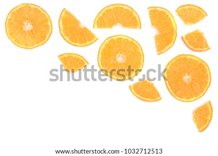 Slices of orange or tangerine isolated on white background with copy space for your text. Flat lay, top view #1032712513