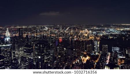 New York City skyline aerial panorama view at night #1032716356