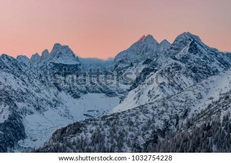 Winter mountain landscape, Rysy and Wysoka peaks in tatra mounta #1032754228