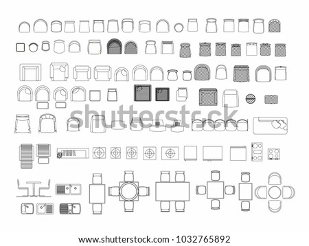 Top view of set furniture elements outline symbol for dining room, office, cafe, kitchen and living room. Interior icon chair, sink, table and sofa. Royalty-Free Stock Photo #1032765892
