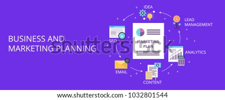 Business and marketing planning, digital marketing cycle, SEO strategy flat vector concept with icons #1032801544