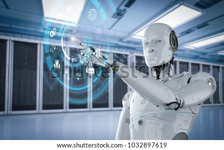 3d rendering robot working with hud display #1032897619