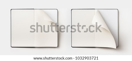Business concept - Top view collection of black hardcover notebook, white open & flip curl rolled page isolated on background for mockup #1032903721