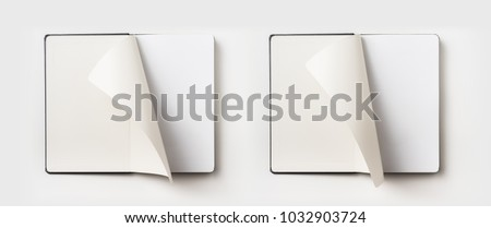 Business concept - Top view collection of black hardcover notebook, white open & flip curl rolled page isolated on background for mockup Royalty-Free Stock Photo #1032903724