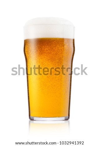 Cold glass of lager beer with foam and dew isolated on white background #1032941392