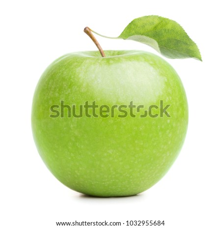 Green apple with leaf isolated on white background #1032955684
