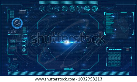 Radar screen. Elements for HUD interface. Vector illustration for your design. Technology background.Futuristic user interface. Royalty-Free Stock Photo #1032958213