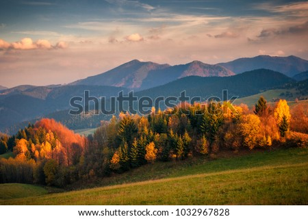 Mountain landscape at sunset in autumn, Mala Fatra National Park, Slovakia, Europe.