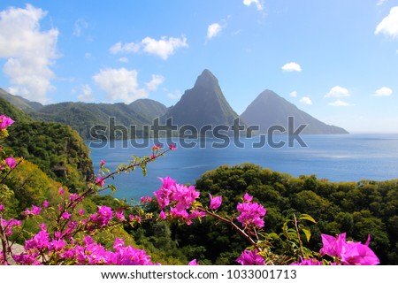 The pitons in St. Lucia as seen from Jade Mountain Resort. Royalty-Free Stock Photo #1033001713