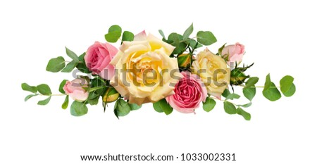 Pink and yellow rose flowers with eucalyptus leaves in arrangement isolated on white background. Flat lay. Top view. #1033002331