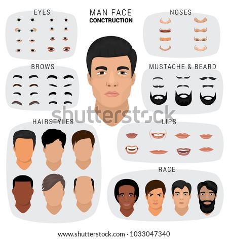 Man face constructor vector male character avatar creation head skin nose eyes with mustache and beard illustration set of facial elements construction with hairstyle isolated on white background Royalty-Free Stock Photo #1033047340