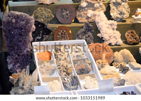 Selection of precious and semiprecious stones on the market. Mineral luxury design items for decorating.  #1033151989