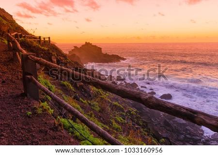 Road to Playa Nogales at sunset, la Palma, Canary islands, Spain Royalty-Free Stock Photo #1033160956