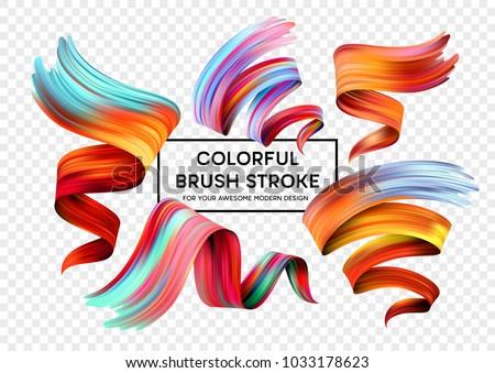 Set of colorful brush strokes. Modern design element. Vector illustration #1033178623