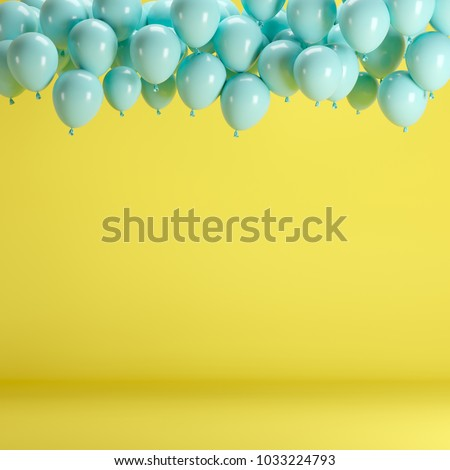 Blue balloons floating in yellow pastel background room studio. minimal idea creative concept.