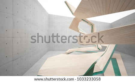 Abstract  concrete and wood parametric interior  with window. 3D illustration and rendering. #1033233058