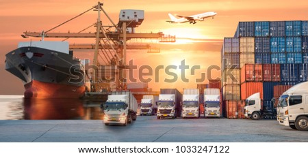 Industrial Container Cargo freight ship for Logistic Import Export concept #1033247122