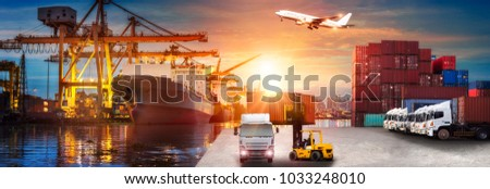 Logistics and transportation of Container Cargo ship and Cargo plane with working crane bridge in shipyard at sunrise, logistic import export and transport industry background #1033248010