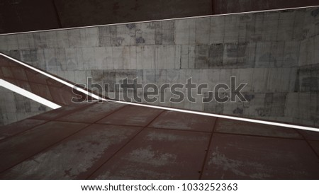 Empty smooth abstract room interior of sheets rusted metal and brown concrete. Architectural background. Night view of the illuminated. 3D illustration and rendering #1033252363