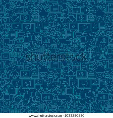Digital Marketing Line Seamless Pattern. Vector Illustration of Outline Tileable Background.