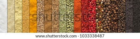 Spice and herbs background, collage of condiments Royalty-Free Stock Photo #1033338487