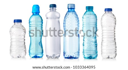 set of water plastic bottle isolated on white background #1033364095