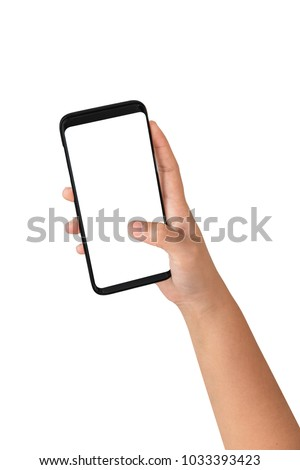 Hand holding cell phone blank on white screen and white background , Clipping path hand holding
