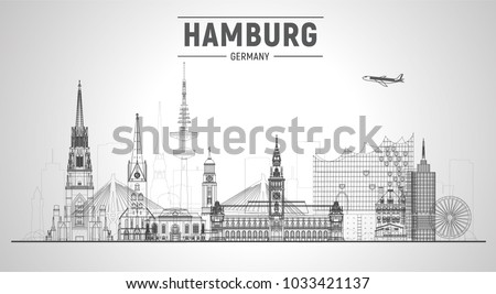 Hamburg Germany line skyline vector illustration on white background. Business travel and tourism concept with modern buildings. Image for presentation, banner, web site. #1033421137