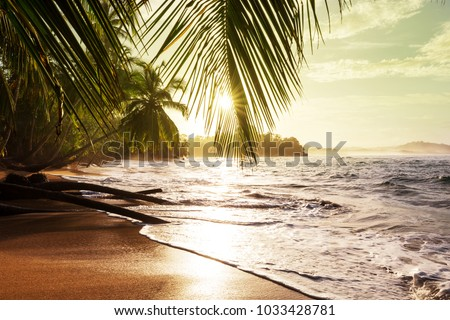 Beautiful tropical Pacific Ocean coast in Costa Rica #1033428781