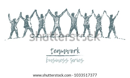 Business concept, people hold hands in a spirit of togetherness, vector illustration, hand drawn, sketch Royalty-Free Stock Photo #1033517377