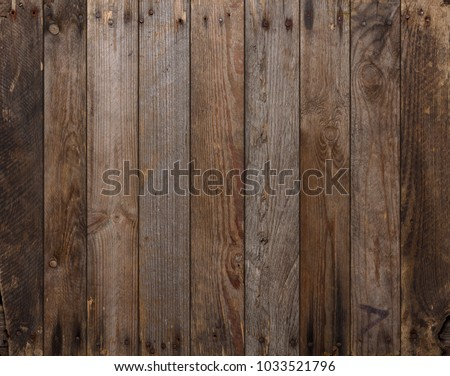 Wood texture background. Wooden planks background, weathered, with nails, top view, sharp and highly detailed. #1033521796