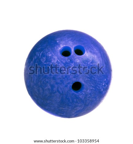 blue marbled bowling ball isolated #103358954