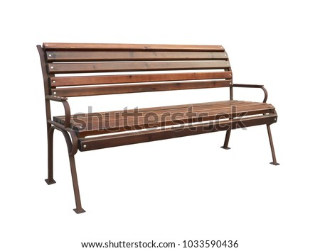 Park bench isolated over a white background #1033590436