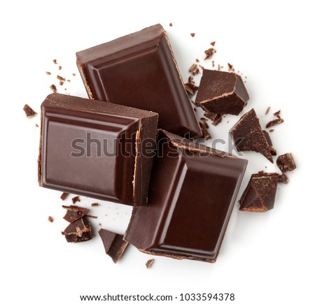 Three dark chocolate pieces isolated on white background. Top view #1033594378