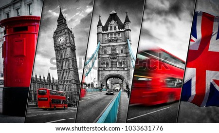 Collage of the symbols of London, the UK. Red buses, Big Ben, red postbox, and the Union Jack flag. Traditional England in vintage, retro style. Red in black and white #1033631776
