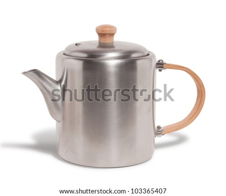 stainless steal tea pot isolated on white #103365407