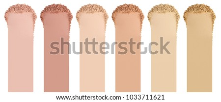 Face powder. Smears of foundation for face. Cosmetic smear. Isolated on white background #1033711621