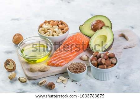 Selection of good fat sources - healthy eating concept. Ketogenic diet concept #1033763875