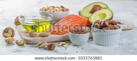 Selection of good fat sources - healthy eating concept. Ketogenic diet concept #1033763881