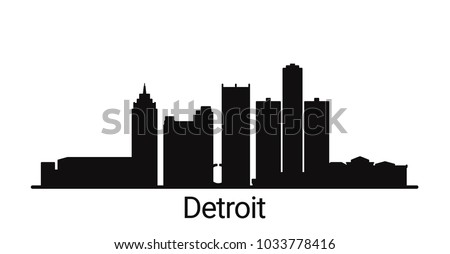 Detroit city outline skyline. All Detroit buildings - customizable objects, so you can simple change skyline composition. Minimal design.